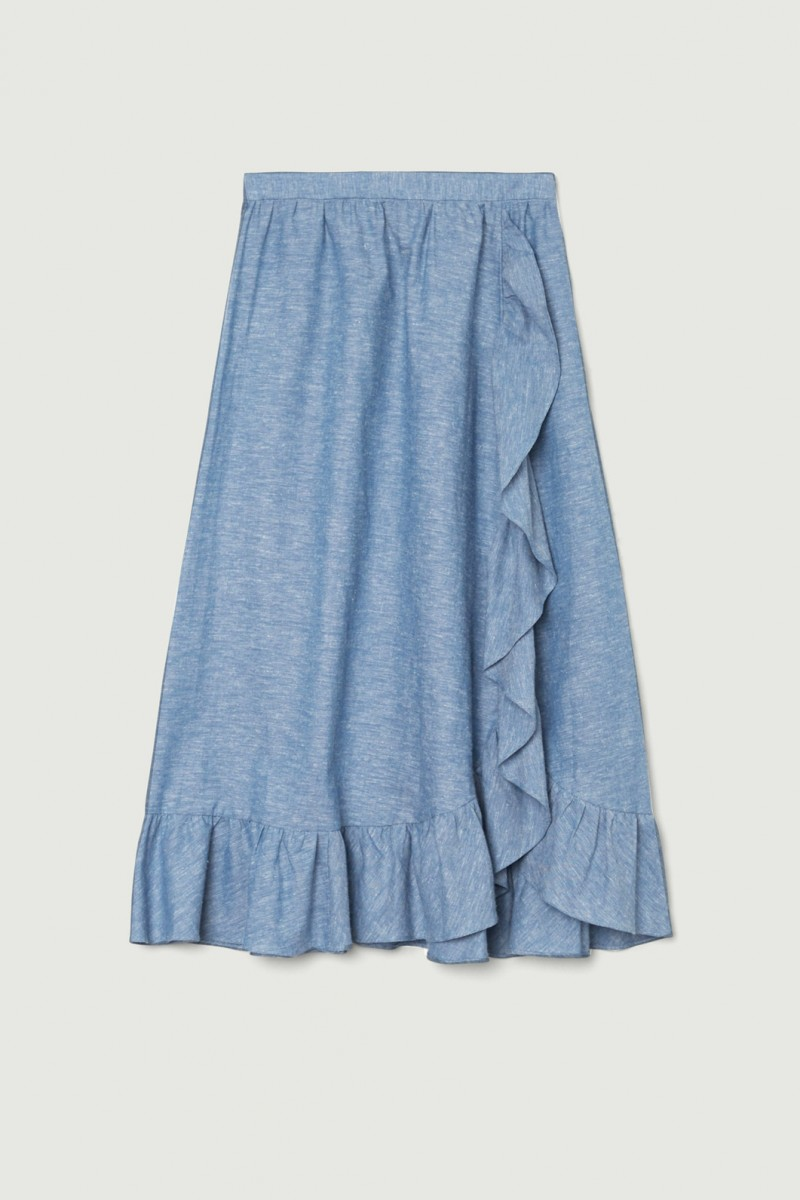 Chambray Frill Wrap Skirt