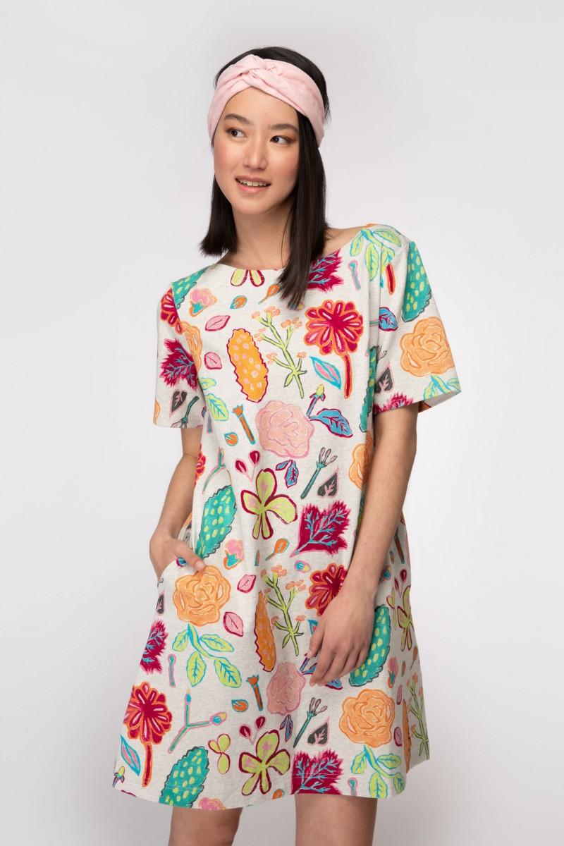 Pitched Petals Tee Dress