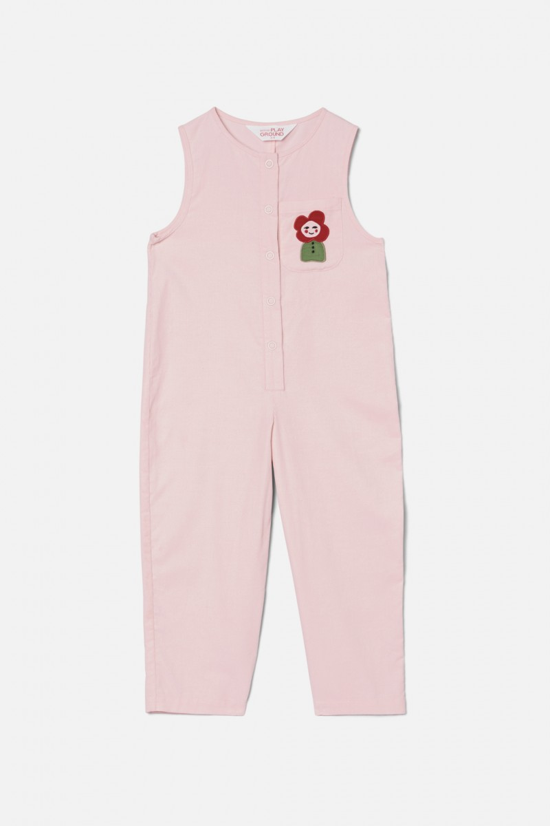 Flower Head Patch Jumpsuit