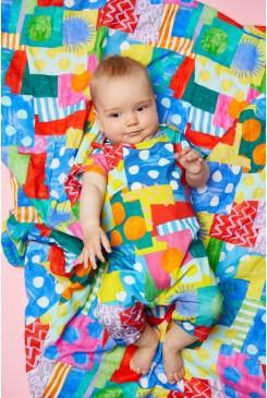Spotty Blocky Baby Muslin Wrap