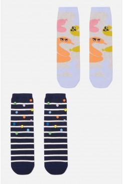 Pom Poms Confetti Kids Sock 2 Pack