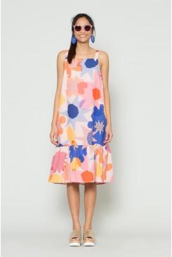 Geo Flower Linen Dress