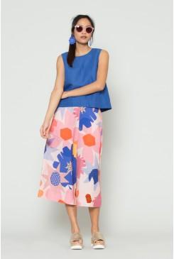 Geo Flower Linen Culotte