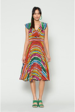 Popstripe Silk Dress