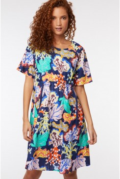 Floral Coral Tie Dress