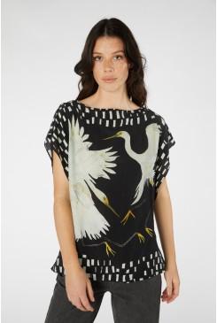 Dancing Egrets Scarf Top