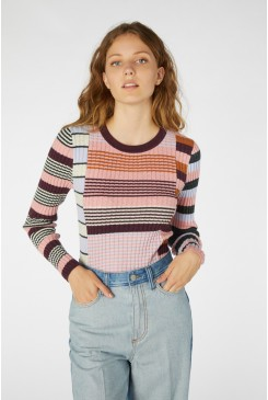 Upcycled Stripe Long Sleeve Top