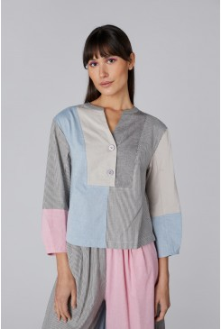 Clipped Chambray Top