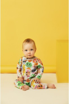 Line Of Lollies Long Sleeve Baby Onesie
