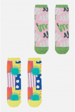 Spotty Blocky Kids 2 Pack Socks