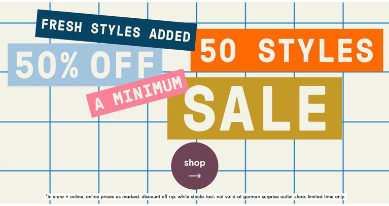 50 styles 50% off