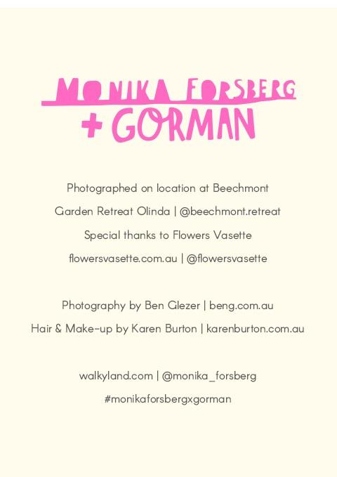 MONIKA FORSBERG + GORMAN LOOKBOOK